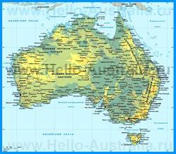 Физическая карта Австралии с городами