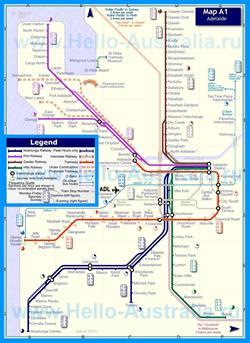 Карта маршрутов транспорта Аделаиды
