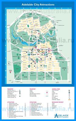 Туристическая карта Аделаиды с достопримечательностями
