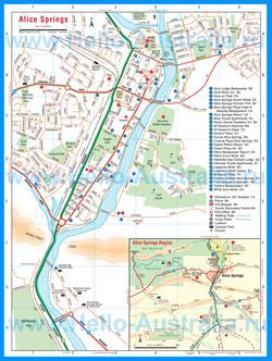 Подробная туристическая карта города Алис-Спрингс с отелями