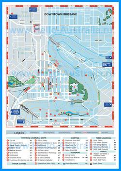 Туристическая карта Брисбена с магазинами