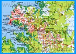Подробная карта города Дарвин с окрестностями