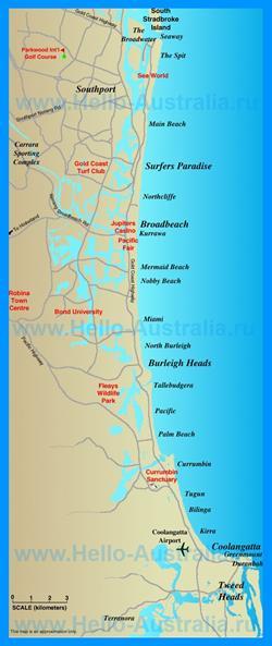 Карта побережья Голд-Кост