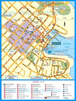 Туристическая карта Хобарта с достопримечательностями