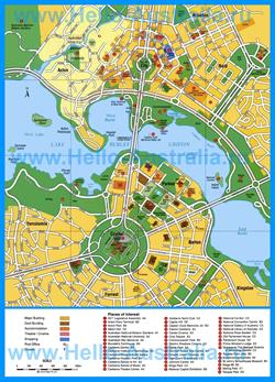 Туристическая карта Канберры с отелями и достопримечательностями