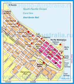 Туристическая карта Кэрнса с достопримечательностями