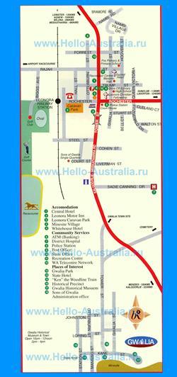 Карта города Леонора с достопримечательностями