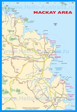 Подробная карта города Маккай с окрестностями