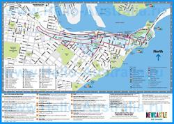 Подробная карта города Ньюкасл с достопримечательностями