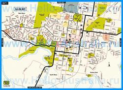 Подробная туристическая карта города Олбери