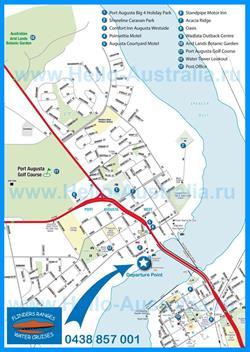 Подробная туристическая карта Порт-Огасты с отелями