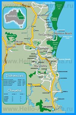 Подробная карта курорта Саншайн-Кост