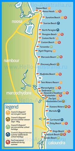 Туристическая карта побережья Саншайн-Кост