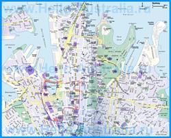 Подробная туристическая карта Сиднея