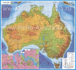 Подробная карта Австралии на русском языке