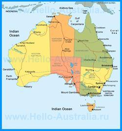 Политическая карта Австралии